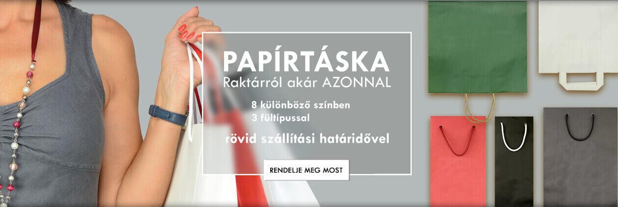 PAPÍRTÁSKA - 8 különböző színben - 3 fültípussal - rövid szállítási atáridővel